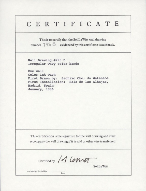 Sol Lewitt, Certificate of Authenticity for Wall Drawing #793 B, 1996, Source: Mass MOCA and Google Arts & Culture