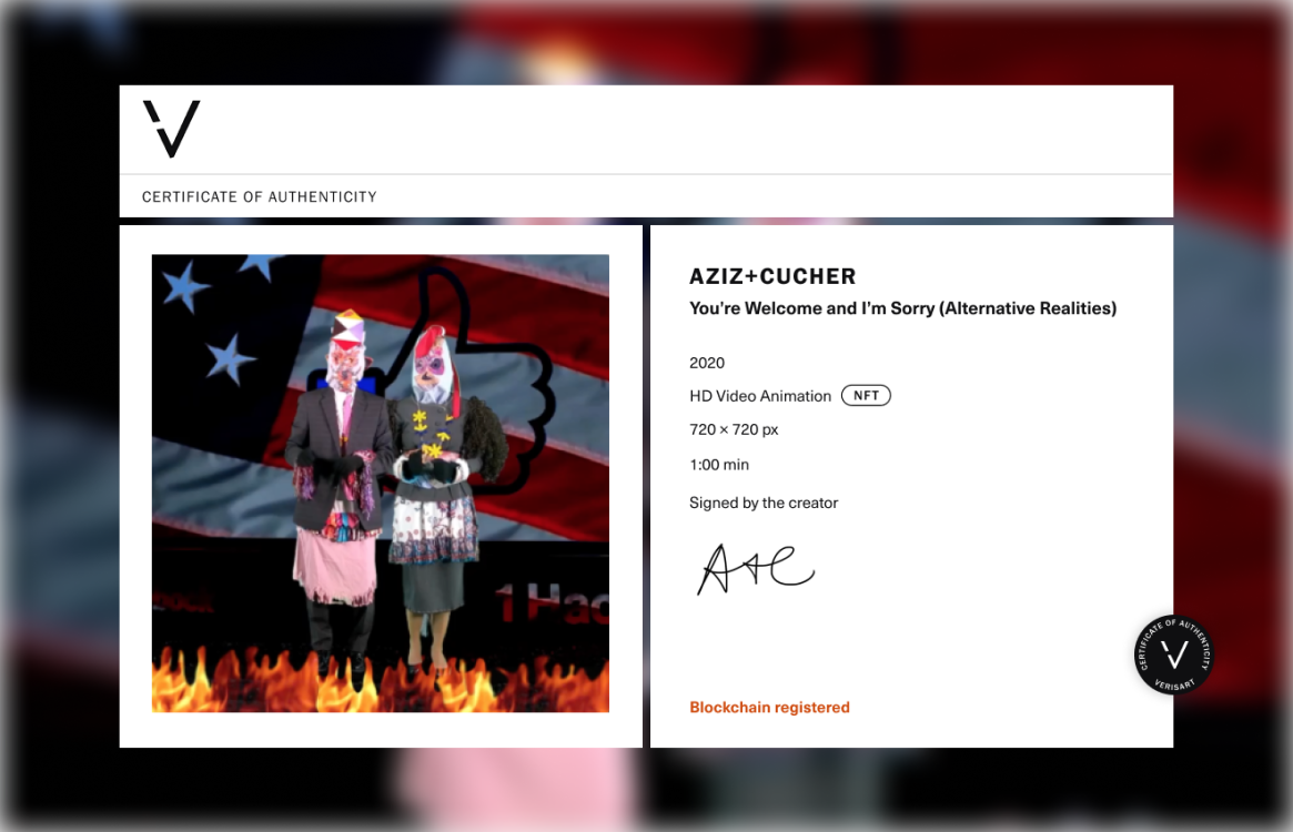 Aziz+Cucher,You're Welcome and I'm Sorry (Alternative Realities),Verisart Certificate of Authenticity, Courtesy of Verisart