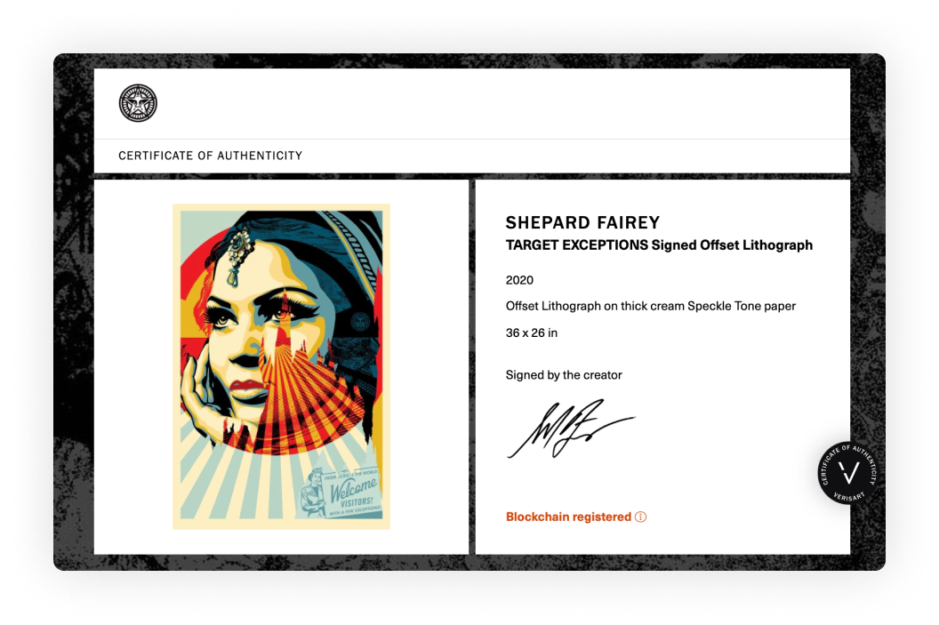 A Verisart Certificate of Authenticity. Shepard Fairey, TARGET EXCEPTIONS Signed Offset Lithograph, 2020. Signed by the creator.