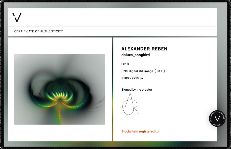 Verisart Certificate of Authenticity for Alexander Reben, deluxe_songbird, 2018.