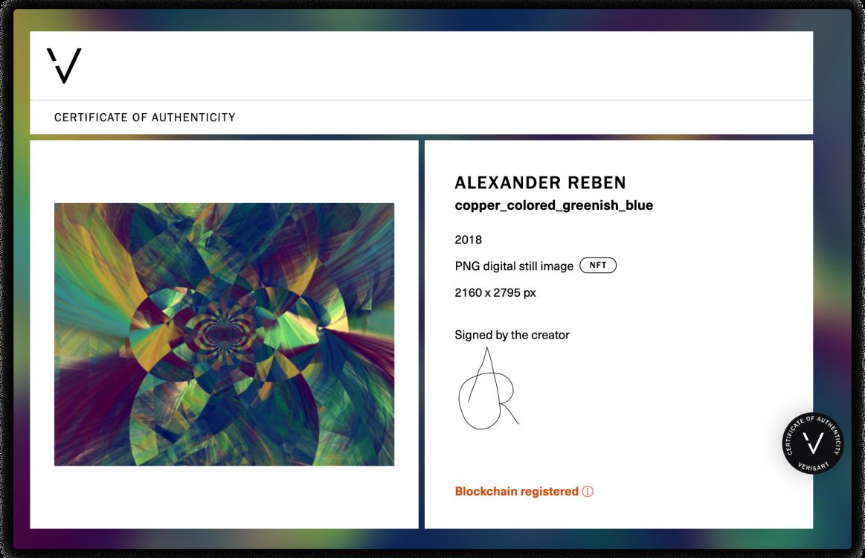 Verisart Certificate of Authenticity for Alexander Reben, copper_colored_greenish_blue, 2018.