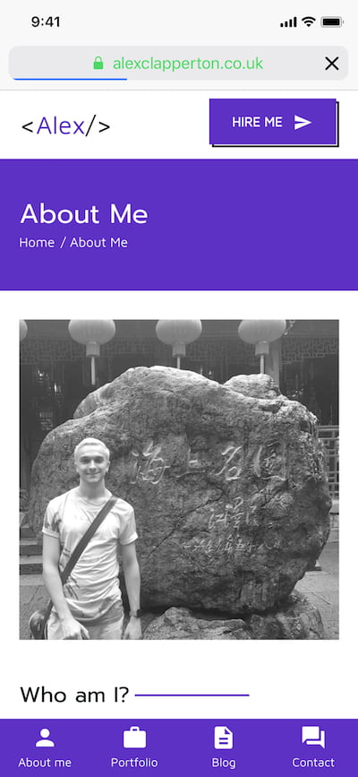 Mobile screenshot of about me page from Alex's website portfolio made in 2017.