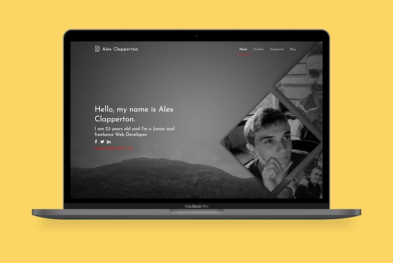 Alex's 2015 website displayed on a MacBook Pro