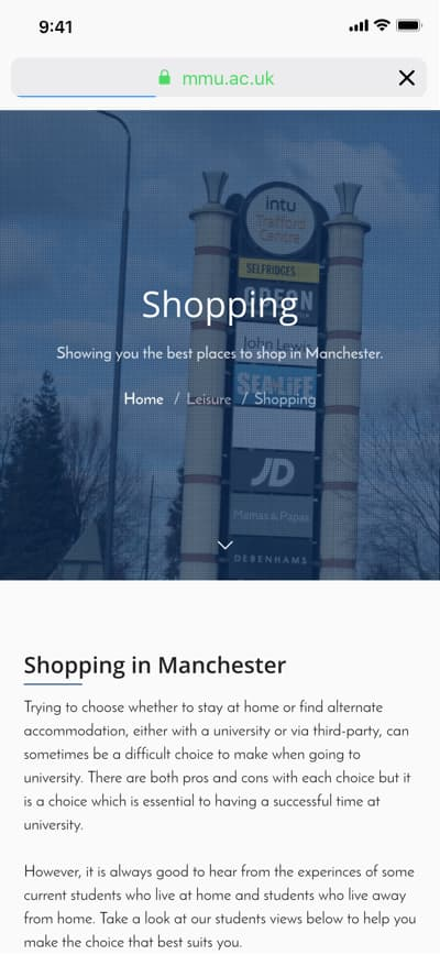 Mobile screenshot of shopping page from re-designed MMU website.