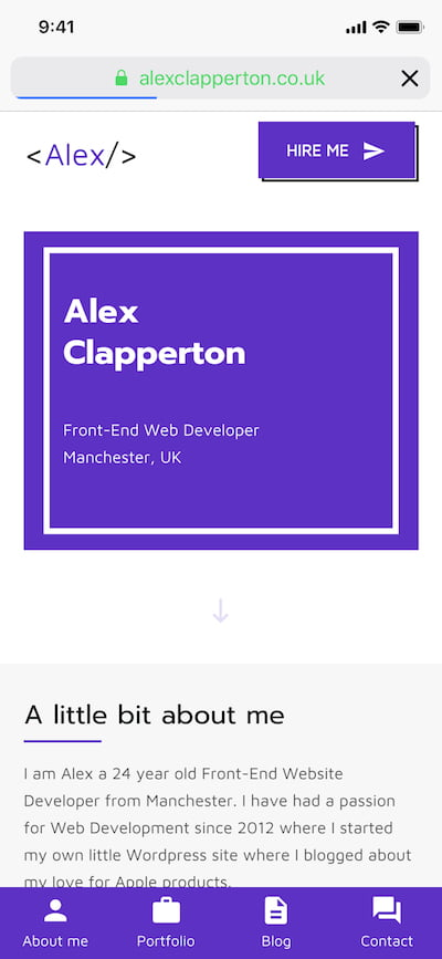 Mobile screenshot of homepage from Alex's website portfolio made in 2017.