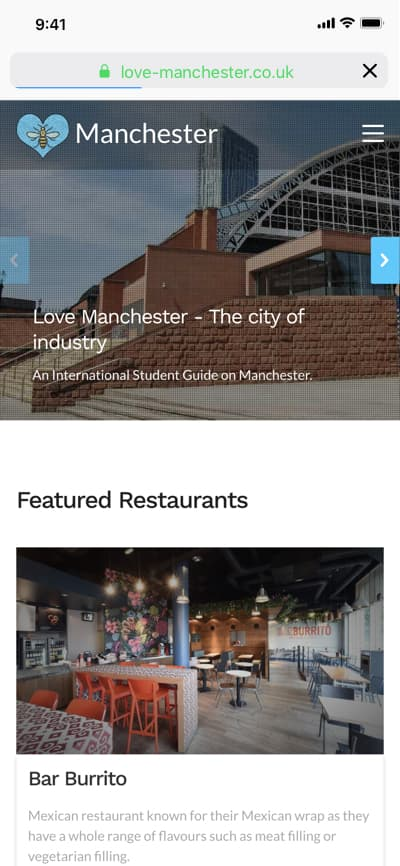Mobile screenshot of homepage from the Love Manchester website project.