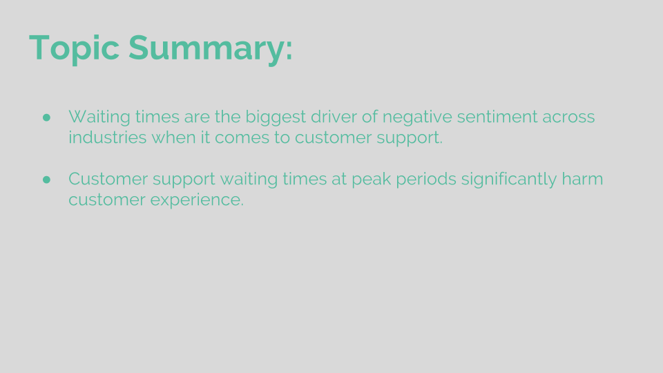 Topic Summary: Long waits frustrate customers