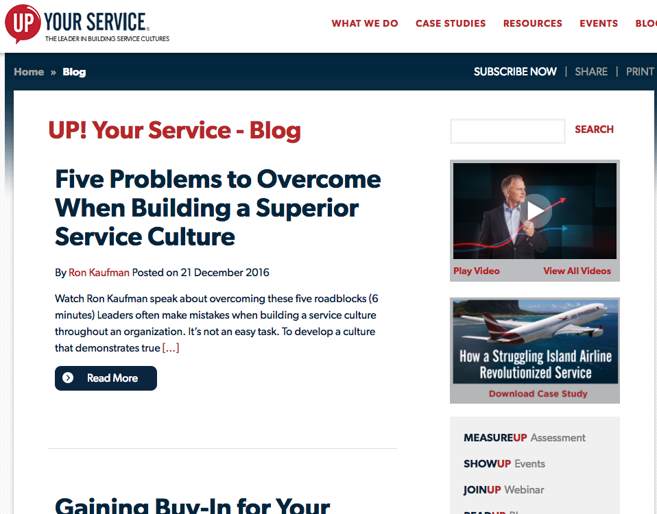 Up your service blog