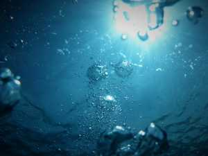 under blue water, bubbles rising towards the surface