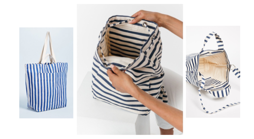 bucket bag inspiration - blue and white stripe