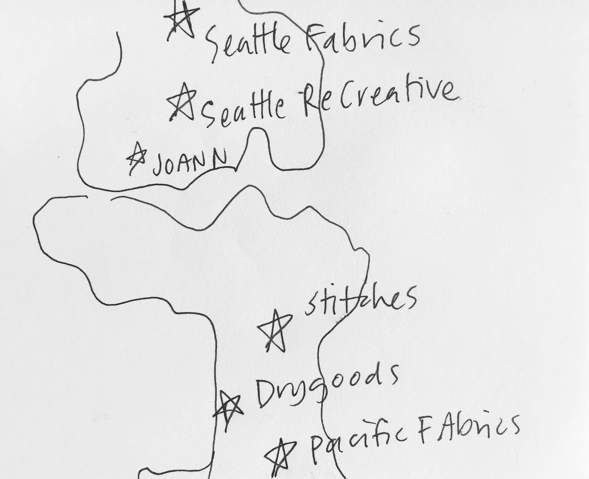 seattle sewing stores map sketch