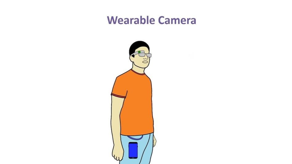 A man wearing glasses with a built in camera