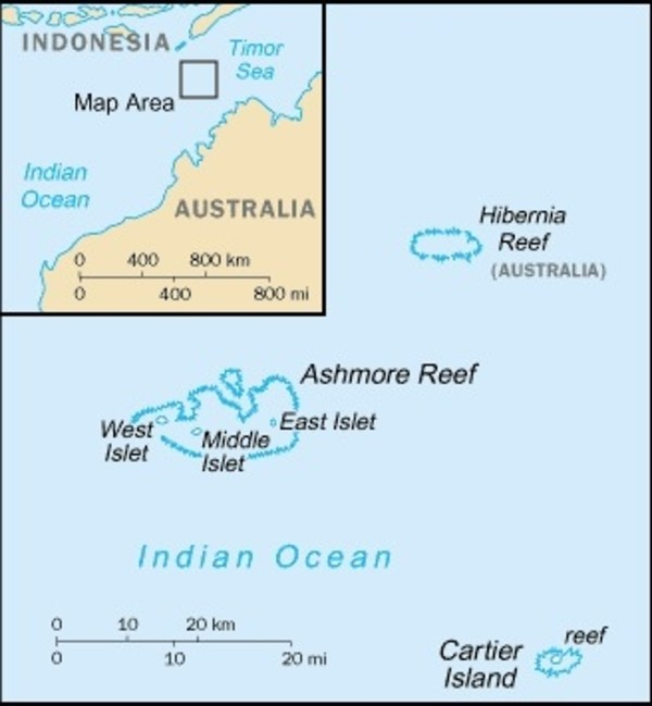 Ashmore and Cartier Islands Map