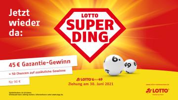 Das Lotto-Superding Logo mit Gewinnbeschreibung