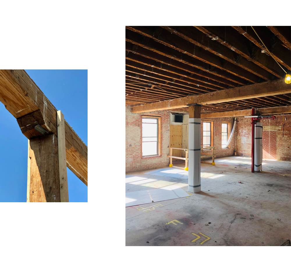 Longleaf pine beams in brick and timber construction.