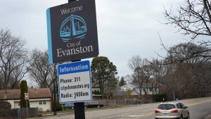sign welcomes visitors to the city on March 23, 2021 in Evanston, Illinois
