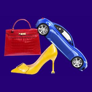 car, heels, purse