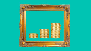 Art frame with coins in it
