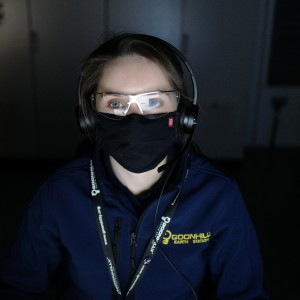 Goonhilly team member Olivia Smedley watches live signals arrive from NASA's Perseverance rover