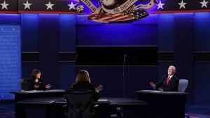 Democratic vice presidential nominee Sen. Kamala Harris (D-CA) and U.S. Vice President Mike Pence participate in the vice presidential debate