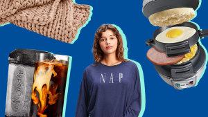 Weighted blanket, instant drink chiller, nap sweatshirt, breakfast sandwich maker