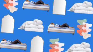 Collage of waffle towels, mattress, arched mirror, colorful undies