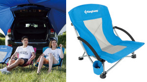 lightweight blue portable folding chair to bring to the park or beach