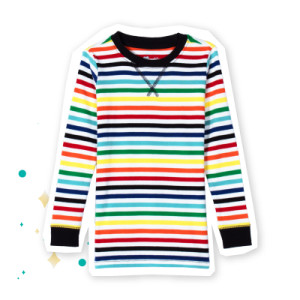 Primary Kids Rainbow Stripe PJ Top