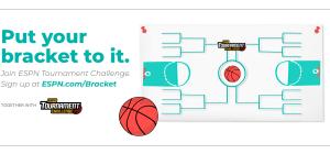 Put your bracket to it. Join ESPN Tournament challenge. Sign up at ESPN.com/Bracket. Together with ESPN Tournament Challenge