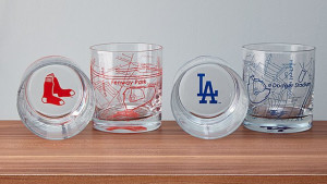 baseball map whiskey glasses