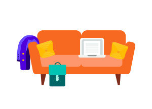 Couch with laptop