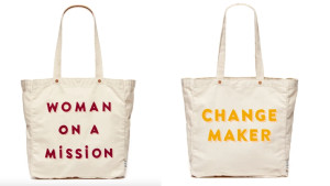 """canvas tote bags with cute """"women on a mission"""" quote"""