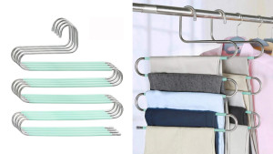 s-shaped hangers to gain more closet space