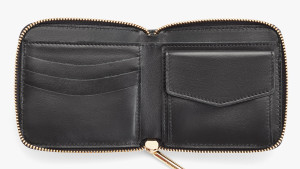 black square leather zipper wallet for cash, credit cards, and change