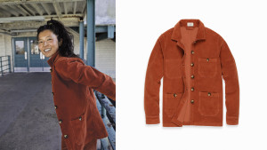 corduroy spring jacket with pockets in a gingerbread color