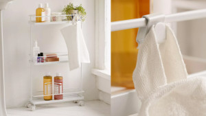 slim bathroom storage cart for extra toiletries