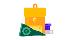 backpack, books, student loan flag