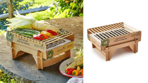 eco-friendly mini grill made from bamboo, cardboard, and lava stones