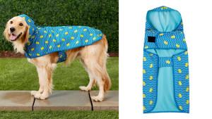 rubber ducky patterned dog rain coat