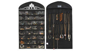 dual-sided hanging jewelry organizer
