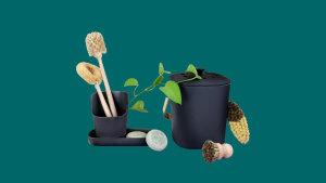 small black food compost bin