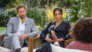 In this handout image provided by Harpo Productions and released on March 5, 2021, Oprah Winfrey interviews Prince Harry and Meghan Markle.