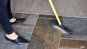 rubber-tipped broom for collecting pet hair