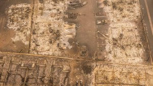 Structures destroyed by wildfire are seen in aerial drone photo on September 12, 2020 in Talent, Oregon