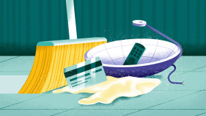 Broom sweeping credit card, old clothes, cable dish and remote