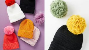 ribbed beanie with removable pom poms you can change out