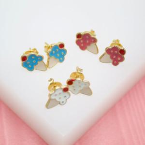 tiny ice cream cone earrings