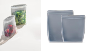 reusable silicone stand-up bags to store leftovers
