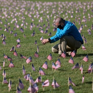 A COVID Memorial Project installation of 20,000 American flags on the National Mall.