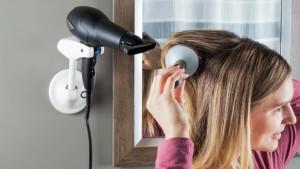 A hands-free blow-dryer holder